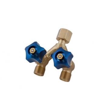 Weldclass Brass Y-Piece Welding Hose Joiner and Coupler with Valve - RH for Oxy-Argon (P4-HFYVRH)