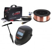 UniMig Viper 182 MIG-TIG-MMA Inverter Welder with helmet, wire and hammer - 10amp Plug