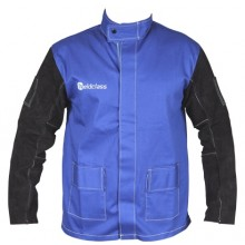 Promax Blue Proban Weld Jacket, Leather Sleeves - L (approx 127cm chest)