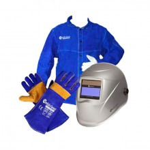 Promax 200 Auto-Dark Welding Helmet with Full Leather Jacket and Gloves