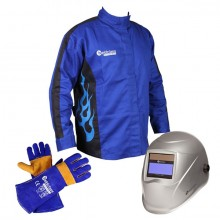 Promax 200 Auto-Dark Helmet with Blue Flame Jacket and Gloves