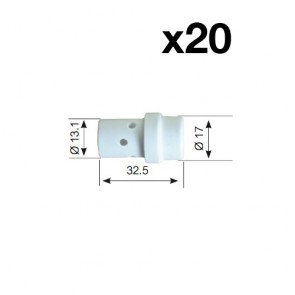 Ceramic Gas Diffuser Insulator for SB36 MIG Binzel Style Torch (PCGD36) 10 x 2 Pack