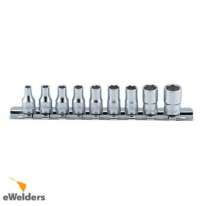 Koken Socket Set On Rail 1/4Dr Whit/Worth 9Pc 8Ba-0Ba
