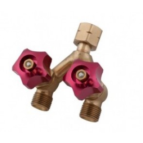 Weldclass Brass Y-Piece Welding Hose Joiner and Coupler with Valve - LH for Oxy,Acetylene and LPG (P4-HFYVLH)