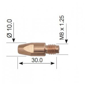 10Pk - 1.2mm Aluminium Contact Tips M8 Bzl Suit SB/MB36,38 (PCTAL0005-12)