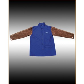 XcelArc Blue Flame Retardant Jacket with Leather Sleeves (XXL) -Up to 147cm Chest