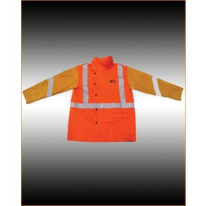 XcelArc Hi-Vis Proban Welding Jacket with chrome leather sleeves - XXL Chest up to 147cm