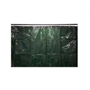 3.4 x 1.8m Green PVC Welding curtain w/rings+Zip-Ties - EN 1598: 2011-12 App.