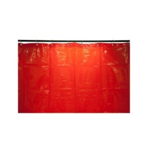 3.4 x 1.8m Red PVC Welding curtain w/rings+Zip-Ties - EN 1598: 2011-12 App.